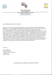 Letter from City of Davenport Police Department