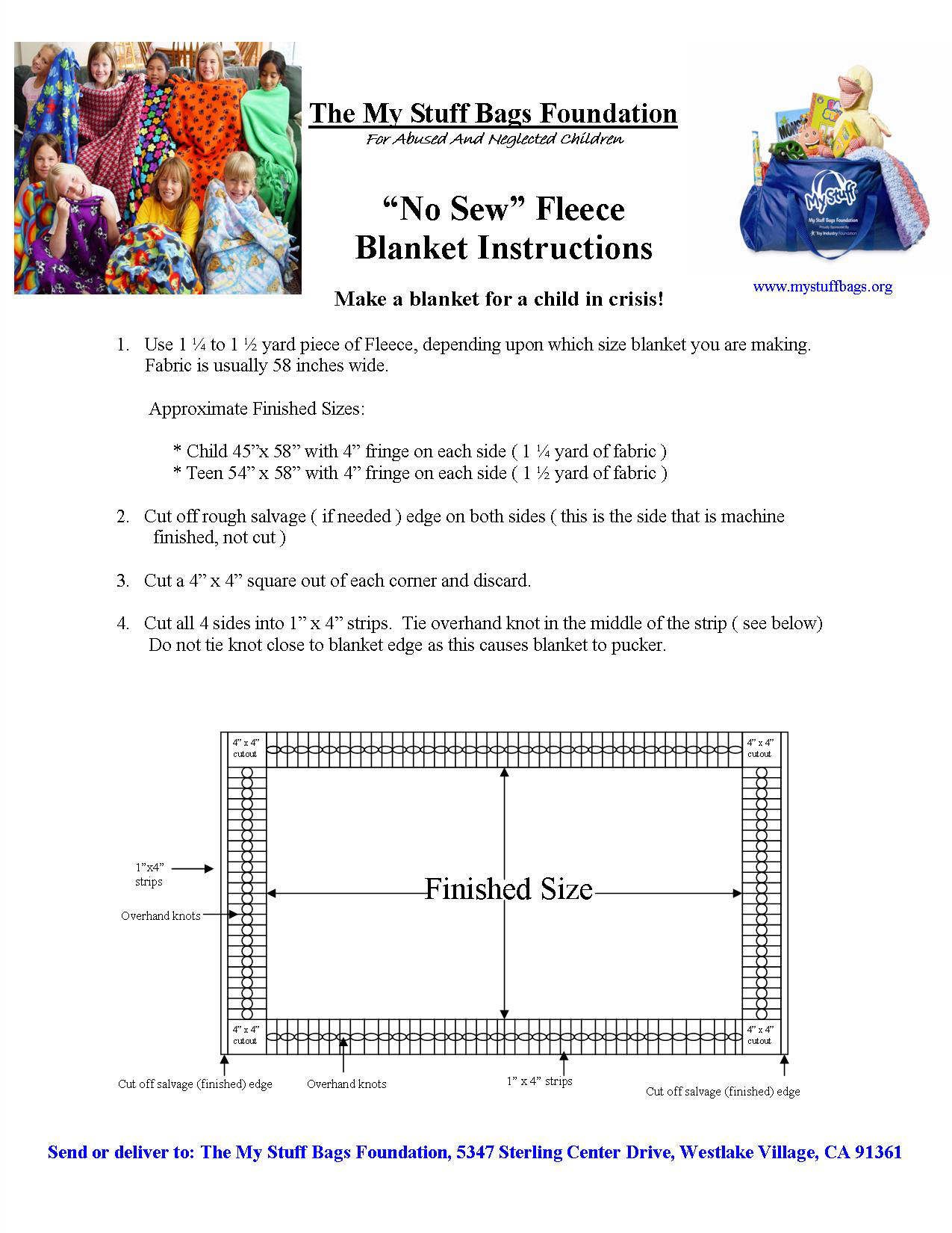 New Fleece Blanket Instructions with Photos